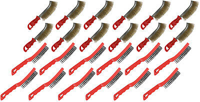 Hilka 24 Wire Brushes - 12x Yellow 4 Row Steel 12x Red Brass Scratch