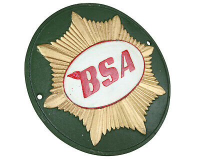 BSA Motorcycle Birmingham Small Arms - Green Round Sign Plaque Cast Iron
