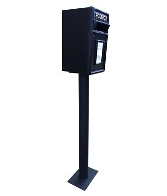 Postbox Letter Post Box and Stand - Cast Iron Black - Medium