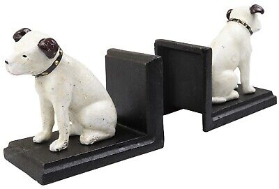 HMV Music Nipper Dog Pair - Cast Iron Bookends Ornament Figures