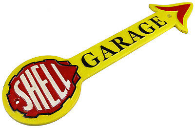 Arrow SHELL GARAGE Oil Cast Iron Yellow Sign Wall Plaque Petrol Garage Workshop