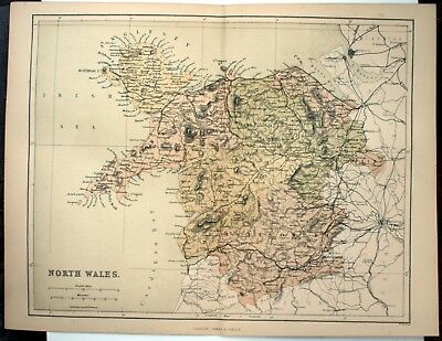Original Victorian 1868 Coloured Sheet Map Folded: North Wales