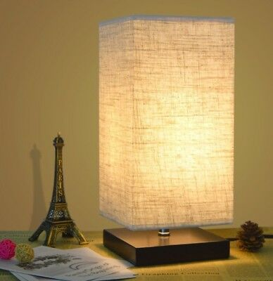 ZEEFO Simple Table Lamp Bedside Lamp With Fabric Shade and Solid Wood For B