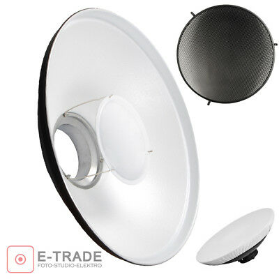 """27.5"""" WHITE Beauty Dish + Honeycomb Grid + Diffuser - Bowens S Type Mount 70cm"""