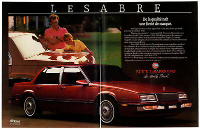 1990 BUICK LeSabre Vintage Original 2 page Print AD Red car photo French Canada