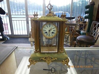 Antique French Green Marble and 4 Glass Mantle Clock Working Medaille D'Argent