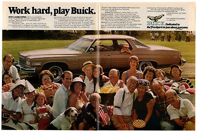 1975 BUICK LeSabre Custom Vintage Original 2 page Print AD - Family photo Work