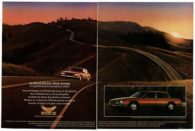 1985 BUICK Electra Park Avenue Vintage Original 2 page Print AD Red car photo CA