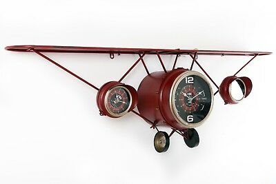 Large Antique Vintage Style Red Iron Plane Wall Clock With Shelf