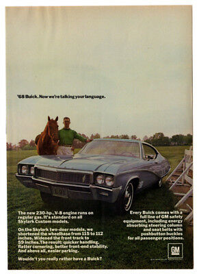 1968 BUICK Skylark 2-door Vintage Original Print AD Blue car photo horse English