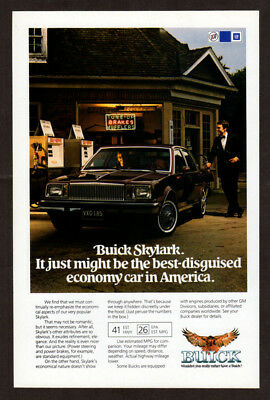 1982 BUICK Skylark Vintage Original Print AD - Black car gas station photo EN
