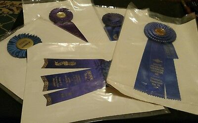Vintage Lot of 5 American Kennel Club Dog Show Award Ribbons 1970's & 80's