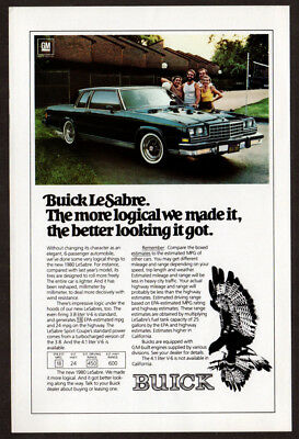 1980 BUICK LeSabre Vintage Original Print AD 2-door blue car photo logical made