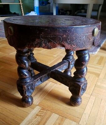 Vintage hand carved wood hand tooled leather Baroque style stool
