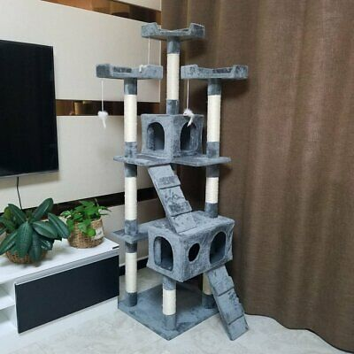 180cm Cat Tree Activity Centre Scratcher Scratching Post Sisal With Toys Bed 608