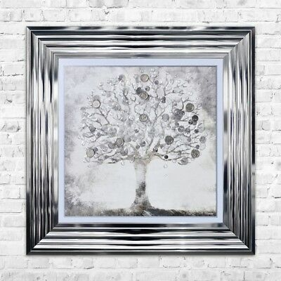 Silver Money Tree Print Framed Liquid Artwork With Silver Coins