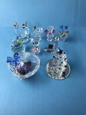 SWAROVSKI CRYSTAL? Unsigned FIGURINE Lot Of 9