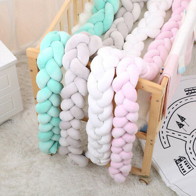 Baby Cot Bumper Knot Cushion Braided Crib Bumper Handmade Super Soft 1.5m/2m/3m