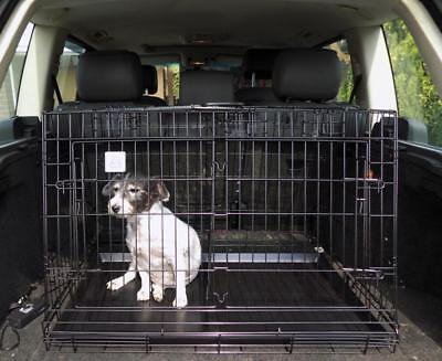 NEW! Hatchback Sloping Folding Metal Dog Cage Puppy Transport Crate Pet Carrier