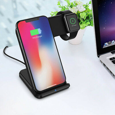 US Qi Wireless Charging Dock Stand 2in1 For iWatch iPhone 8 X 8Plus Apple Watch