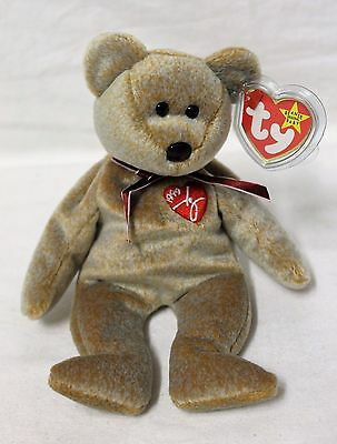 RARE Limited Edition 1999 Signature Bear Ty Beanie Baby w/ Tag Error - Retired