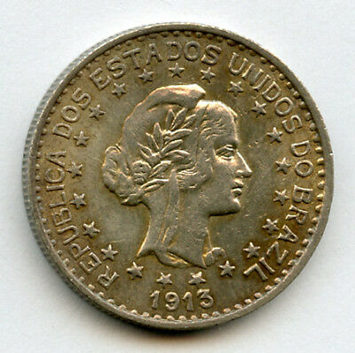 Brazil 1913 Issue Liberty Head 1000 Reis Silver Coin Nice Toning+ Luster Ch.unc.