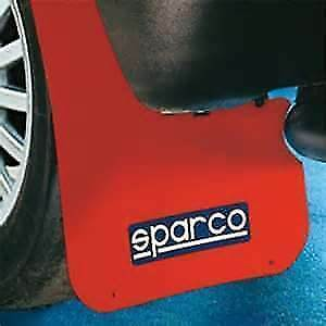 4 x Red Sparco Logo Rally Style Car Exterior Styling Mudflaps - Universal Fit