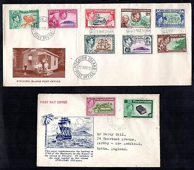 Pitcairn Islands 1940-51 KG VI Set on 2x Covers, 1951 Issues are First Day Cover