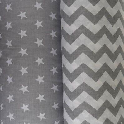 """GREY CHEVRON STARS Cotton FABRIC   64"""" wide BY THE METRE, CRAFT, QUILTING, baby"""