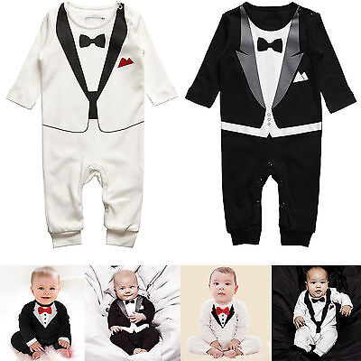 Toddler Boy Baby Prom Suit Tuxedo Peagent Romper Wedding Party Jumpsuit 0-3Years