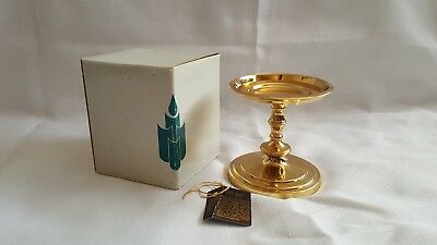 """PARTYLITE Falmouth SOLID BRASS 4"""" Pillar Candle Holder Stand J3022 ~NEW IN BOX!"""