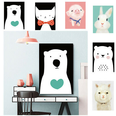 Lovely Animals Oil Painting Canvas Picture Prints Baby Child Room Decor Gift