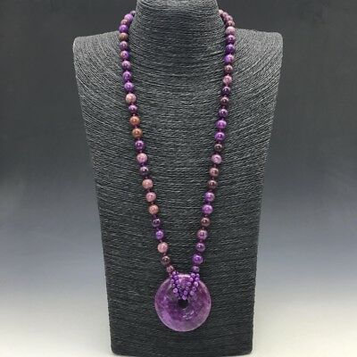 collect China carving heart-shaped  pure natural violet jade necklace.  q860