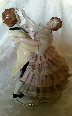 Extremely RARE German Dresden Dancing Couple Figurine PERFECT CONDITION