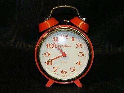 RARE Art Deco Seth Thomas Orange Bell Alarm Clock Working