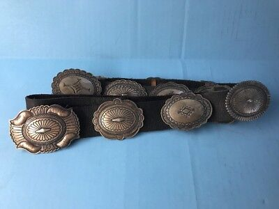Nice Vtg Old Navajo Stamped Sterling Signed E.S. Mitchell Concho Belt