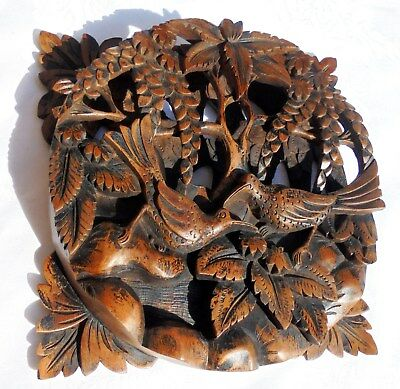 Beautiful Antique Hand Carved Wooden item having hand carved Birds & Leaves etc.