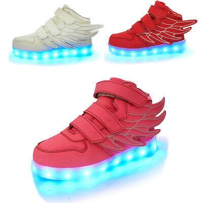 Boys Girls Wings 7 Colors LED Shoes Light Up Luminous Sneakers Gifts for Kids