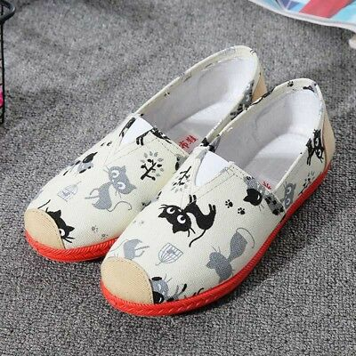 Casual Womens Flat Canvas Shoes Breathable Sport Plimsolls Slip on Loafers Comfy