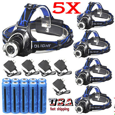 90000Lumen T6 LED Zoomable Headlamp Rechargeable 18650 Headlight Battery&Charger