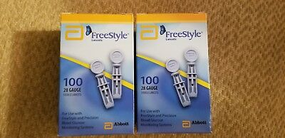 Freestyle lite lancets 2 BOX of 100 for Diabetic Blood glucose testing 2020/02