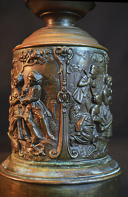 Sebastien Bourdon bronze engravings on a table lamp Government Guaranteed Patent