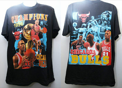 "Rare Vintage ""CHICAGO BULLS 1996 NBA Champions"" Deadstock Double-Sided Sz: XL"