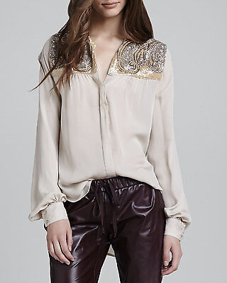f292ad7f32fe1 Haute Hippie Scarab Paisley Embellished Beaded Panel Silk Blouse  395 Size  XS