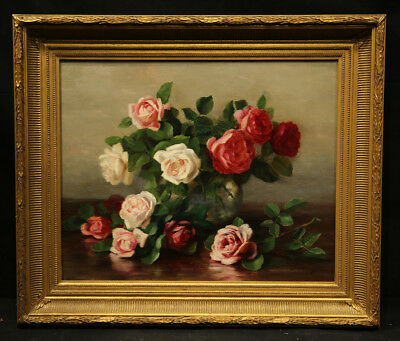 Impressive Antique 19th Century Painting Flower Still Life Pink Roses