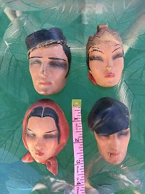 Vintage Antique  4 Small Clay Doll  Masks,Rare Find