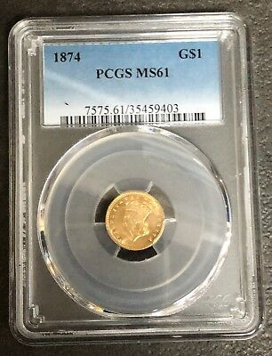 Quality Princess $1.00 Gold Piece 1874 Ms-61 Pcgs  Nice Looking Gold Coin