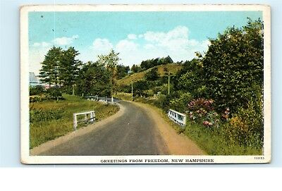 Greetings from Freedom New Hampshire NH Old Country Road Vintage Postcard A39