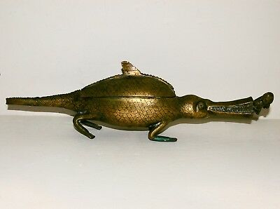 A Brass Kola Nut Container Of A Crocodile Mauling A Human. Possibly Benin.