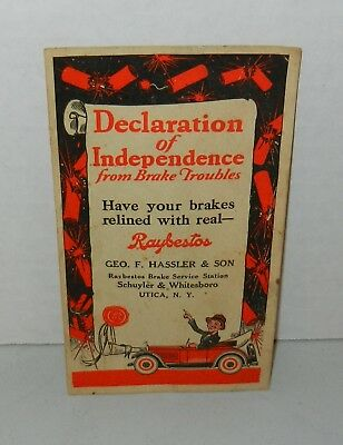 Vintage 1920s Declaration of Independence Raybestos Advertising Trade Card Utica